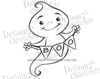 "Ghost with ""Boo"" Banner 2 Digital Stamp/ KopyKake Image- F29-GHOSTBOO2"