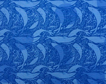 Lizzy House Natural History Giants of the Deep blue Fat Quarter or more OOP HTF
