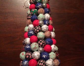 """16"""" tall Rag ball Christmas tree"""