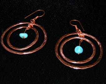 HAMMERED GENUINE Copper hoop pierced earrings