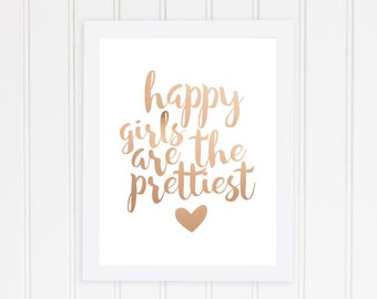 Happy Girls Are The Prettiest, Real Foil Print, Audrey Hepburn Print, Motivational, Home Decor