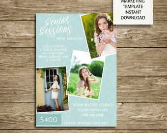 Senior Mini Session Floral Background -Photography Studio Marketing - 5x7 Photoshop Template - ***INSTANT DOWNLOAD***