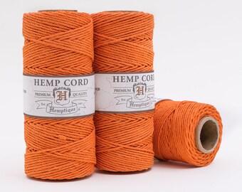 Orange Hemp Cord, 1mm,   205 Feet,   Bead  Cord, Halloween Twine -T3