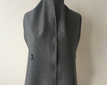 Winter Sale, Gray Wool Scarf, charcoal gray scarves , screen printed text, scarves
