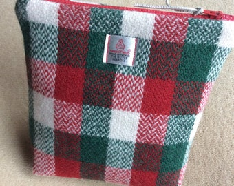 Harris Tweed purse, harris tweed, green, red, cream