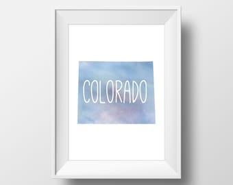 Colorado State Blue Watercolor Printable Art, Colorado Print, Colorado Art, Modern Art,