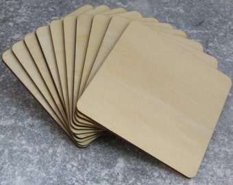 Wooden Square Coasters Shapes 10cm Craft Supplies Squares Large Wood Blank Various Discount Packs Available
