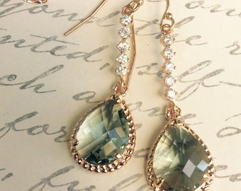 14K Rose Gold Filled and Bezel Earrings,Black Diamond Faceted Glass Crystal,Cubic Zirconia Rose Gold Chandeliers,Holiday and Bridal Jewelry