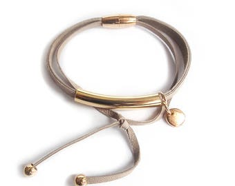 Leather bracelet powder beige with GOLD or SILVER tube double
