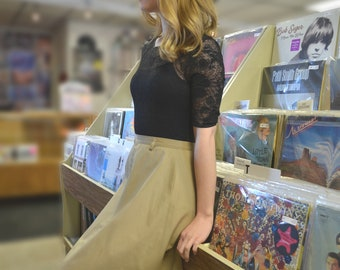1970s tan skirt | Vintage Beige Work Skirt | Size XS