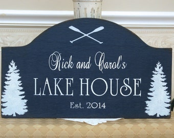 Rustic custom Lake House personalized  hand painted cabin sign, cabin decor, rustic ski sign, custom cottage sign,at the lake sign, navy