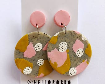 Polymer clay statement dangle earrings