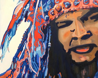 Native American Portrait Oil Painting, Wall Art, wall decor, Rustic, Cabin, Western, War Chief, War Bonnet, Indian Chief