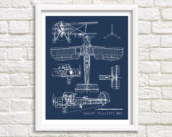 "Biplane Blueprint, Airplane Blueprint, Biplane Wall Art, Fairey Swordfish, Old Aircraft Blueprint, Vintage Aircraft Blueprint, 5x7"", 8x10"""