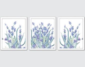 Watercolor Lavender Wall Art Prints, Botanic Herb Prints, Culinary Art Prints, Herb Kitchen Art, Floral Nursery Set, Farmhouse Decor