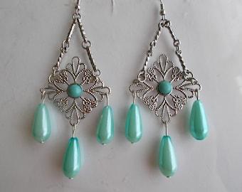 Silver Tone Dangle Earrings with Pail Blue Teardrop Pearl Dangles