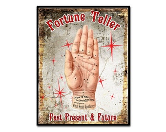 Fortune Teller Palmistry Art Print Palm Reading Halloween Magic Wall Decor Home Decor Giclee Original Art 8 1/2 by 11 inches