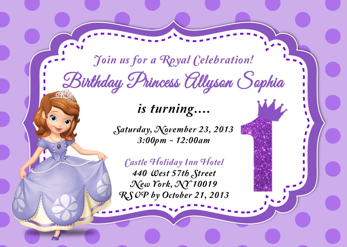 Custom photo invitations sofia the first birthday invitation zoom stopboris Image collections