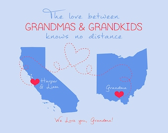 Gift for Grandma, Long Distance Grandkids, Personalized Maps, Grandparents, Grandmother Gift, Gift for Mother in Law, Moving Gift | WF141