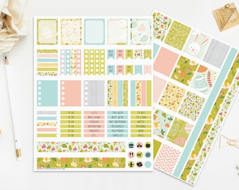 Easter Stickers Printable Planner Bunnies Chicks Eggs Pink Blue Green Spring Seasonal Cute Flowers Floral Digital Instant Download Print Cut