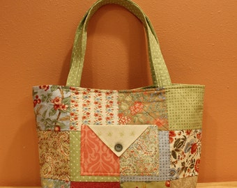 Quilted Tote Bag - Green & Blue