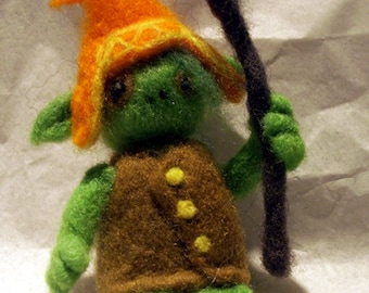 Needle Felted Green Goblin Wizard