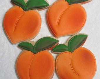 Peach Cookies - Georgia Peaches Wedding Cookie Favors, Bridal Shower Cookies Birthday Party, Fruit Cookies, Custom Decorated Sugar Cookies