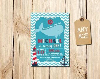 Whale Birthday Invitation,  Boy's Whale Invitation, Whale Invitation, Whale Invite, Blue Whale Invitation, Whale Party Invite, Boy