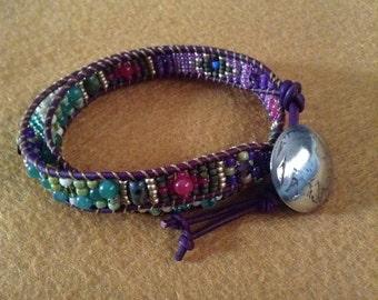 Double Wrap Leather Gemstone Bracelet