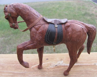 Vintage Leather Horse Statue, Leather Horse Figurine
