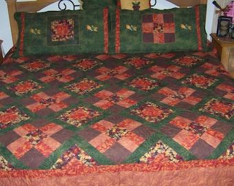 Quilt, handmade, king size, custom, autumn, fall, brown, orange, birds, bird quilt, quilt set, embroidered, pillow shams, patchwork