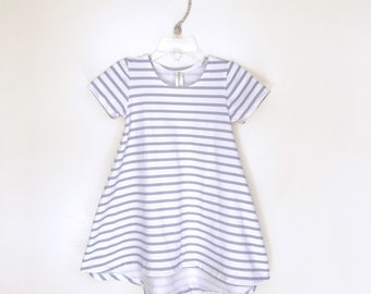 Grey & White Stripe short sleeve swing dress, high low dress, baby dress