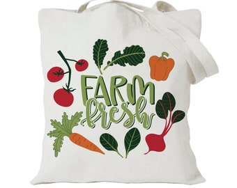 Farm Fresh Tote Bag - Reusable Grocery Bag - Farmers Market Tote Bag