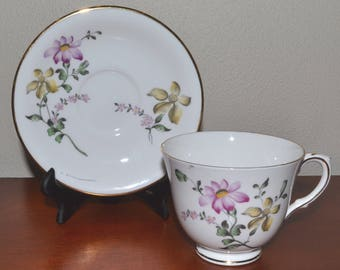 Vintage Royal Victoria Teacup & Saucer with Yellow Pink Flowers Fine Bone China