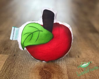 Valentines Baby Gift, Organic Baby Rattle RED APPLE, Vegan Fruit Baby Toy, Unique Gift for Baby Boy, Baby Girl, Expecting Mom, Baby Shower