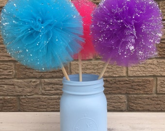 Mason jar and tulle pompoms centerpieces,Frozen Party Decoration,Mason Jar and 3 pom poms
