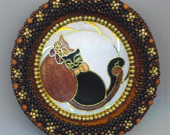 Enamel Cat Brooch . Cat Lover . Copper, Gold, Black Cat . Two Cats . Beadwoven Cats . Beaded Bezel - Cat Friends by enchantedbeads on Etsy