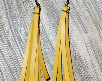 Mustard Leather Fringe Earrings
