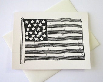 American Flag Note Cards Stationery Set of 10 Cards