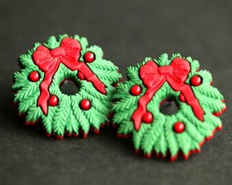 Christmas Wreath Earrings. Holiday Earrings. Red and Green Earrings. Christmas Earrings. Bronze Post Earrings. Christmas Jewelry.