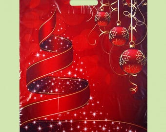 50 ECO Christmas Printed Red Plastic Gift Carrier Bags 15.75 x 19.69 inch (40 x 50 cm) Christmas Ornament Tree and Balls, Merchandise Bags