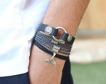 Leather Bracelet, Gift For Men, Boyfriend Gift, Mens Bracelet, Bracelets, Silver Bracelet, For Her, Men Bracelet, Husband Gift, For Him