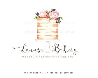 Luna's Bakery Wedding Cake  Designer- OOAK PreDesigned Logo Design -  Cake Design - French Confections Logo Design