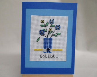 Get Well Card Cross Stitched