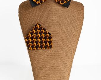 Bow tie Wax slim & yellow handkerchief