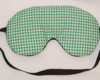 Handmade Green Gingham Cotton Sleep Eye Mask Blindfold Hen Blackout Migraine