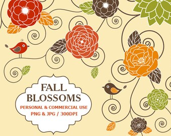 Digital Fall Blossoms Clip Art Autumn, Fall, Leaves, Tree, Flowers Clip Art,