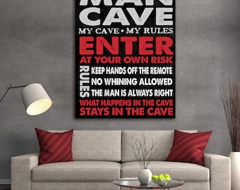 Man Cave Sign Framed Canvas Wall Art Man Cave Decor The Perfect Man Cave Gift Man Cave Wall Art Guy Room Pool Room Decor Craft Beer