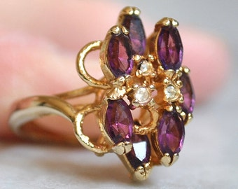 Gold Cocktail Ring with Amethysts and Rhinestones - SALE