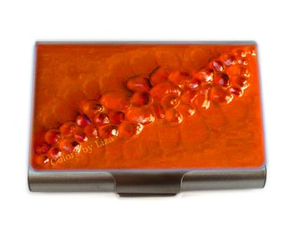 Large Metal Card Case Recycled Glass Inlaid in Hand Painted Orange Enamel Metal Wallet  Custom Colors and Personalized Options